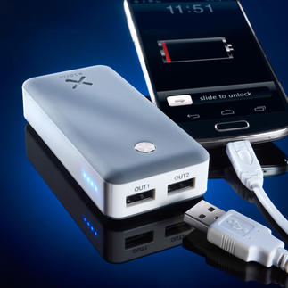 Xtorm Power Bank Air 6,000 or Xtorm Power bank Free 15,000 Charges 2 mobile devices at the same time. Really fast, even with energy-consuming tablets.