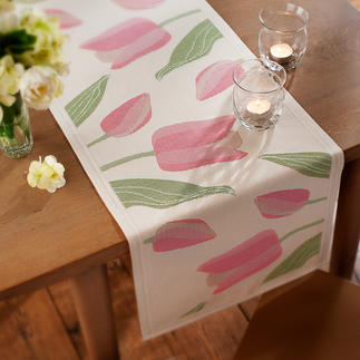 "Table Runner ""tulips"" From the supplier to the Swedish royal family.Elaborately woven tri-coloured jacquard. In pale pink or yellow."