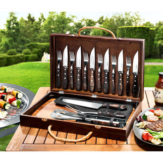 Churrasco Barbecue Kit, 17-piece set Razor sharp, indestructible barbecue cutlery in an elegant case. Designed and manufactured in Brazil.