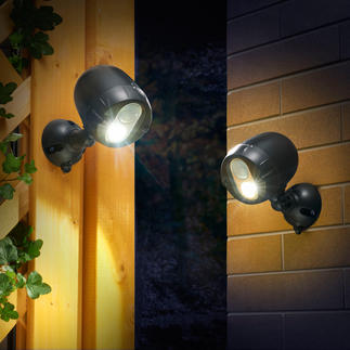 Wireless Network Spotlights, Set of 2 Radio connected, battery operated LED spotlights that instantly detect motion.