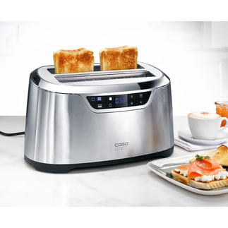 Design Long Slot Toaster High-tech in stainless steel. With precise sensor control, extra-large slots and automatic motorised lift.