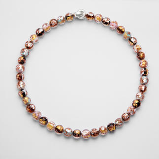 Murano Beaded Necklace Venetian splendour: Shimmering gold and silver, embedded in luxurious Murano glass beads. Handmade.