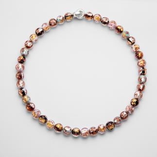Murano Beaded Necklace Venetian splendour: Shimmering gold and silver, embedded in luxurious Murano glass beads. Handmade.