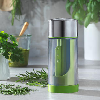 Microplane® Herb Cutter Ultra-sharp. Cuts fresh herbs in fine pieces, without crushing. Simple, safe and fast.