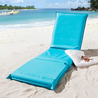 3-in-1 Beach Mat Softly padded, with 5-fold adjustable backrest and hardwearing textile cover.