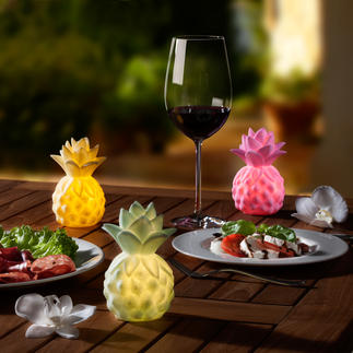 Bright Baby Pineapple, Set of 3 Battery powered pineapple lamps provide fresh summer accents on your table – perfect for parties.