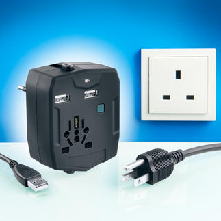 World Travel Adapter With Power Bank Power bank and USB charger in one for your mobile devices. With plug types for more than 150 countries.