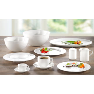 "Bone China ""À-Table"" Dinnerware Enjoy the same porcelain used by first class passengers of SWISS Air."