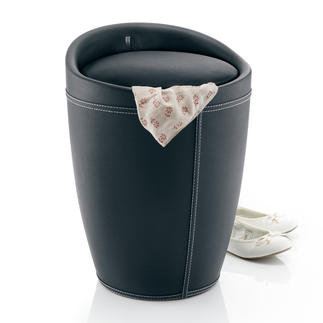 Storage Stool Elegant, with a padded seat and 20 litres of hidden storage space. With removable laundry bag.
