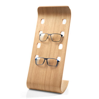 Glasses Display Stand Made from veneered bentwood in a contemporary oak colour, it safely stores four of your favourite pairs.