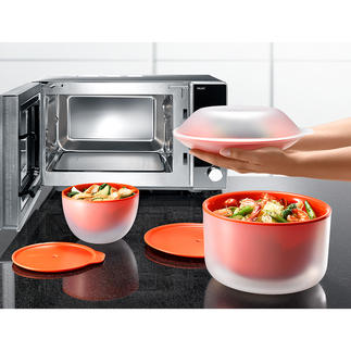Microwave Dishware Cool Touch Much safer: Double-walled microwave dishes. Remains cool on the outside.