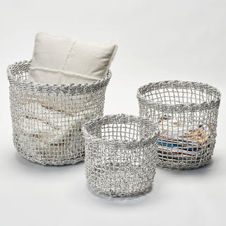 All Purpose Metallic Storage Basket,  3-Piece Set Storage baskets in on-trend metal wire look – yet made of hand-woven foil paper.