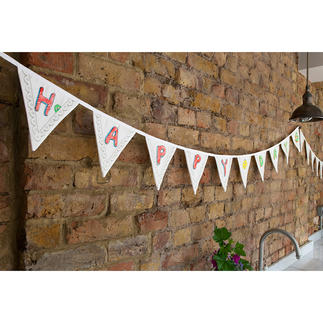 Customisable Flag Garland Luxurious fabric garland that's easy to decorate with washable markers. Reusable.
