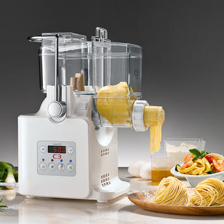 Pasta Machine with dryer Mixes, kneads and shapes. Also prevents the noodle strands from sticking together.