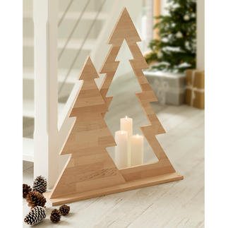 Fir Tree Duo Contemporary Christmas decoration that doesn't look gaudy. Clear shape. Clean design. Untreated alder wood.