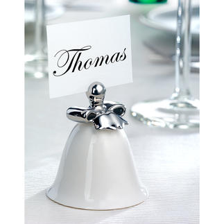 Alessi Place Card Holder, Set of 4 Fine porcelain bell with a gentle sound. Elegantly decorated by hand in silver.
