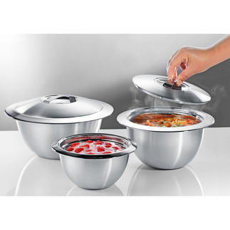 Stainless Steel Thermo Bowls with lid Double walled stainless steel keeps your food hot or cold for longer. Pleasantly affordable.