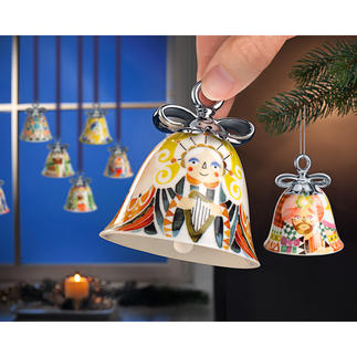 Alessi Christmas Bells Heralding the holiday season in style. In welcoming colours, with a ribbon silver-coated by hand.