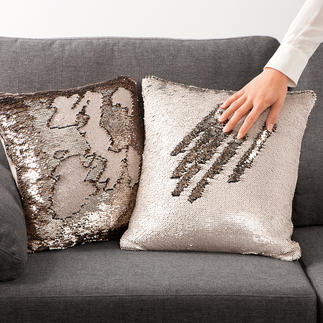 Reversible Sequin Cushion Cover Stylish glamour with a metallic look: The cushion cover made with fashionable reversible sequins.
