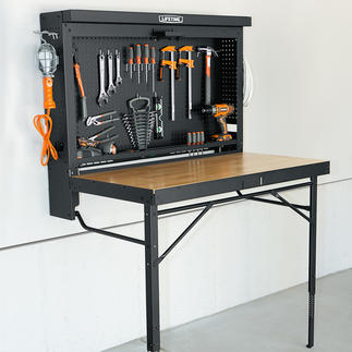 Folding Workbench Ingenious, space-saving folding design. Ready for use in one step. Will never stand in your way.