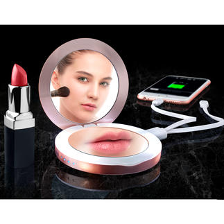 3-in-1 Pocket Mirror Hand-sized vanity mirror, magnifying mirror and power bank in one.