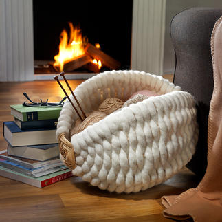 "Galician Wool Felt Basket This exclusive craftsmanship from Galicia is a perfect cosy ""nest"" for shawls, throws, magazines ..."
