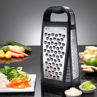 Microplane® 5-in-1 Tower Grater Razor-sharp photochemically etched blades. Space-saving 5-in-1 functions.