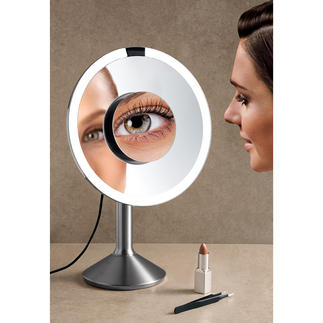 Daylight Sensor Mirror Elegant stainless steel design with additional magnetically attached mirror.