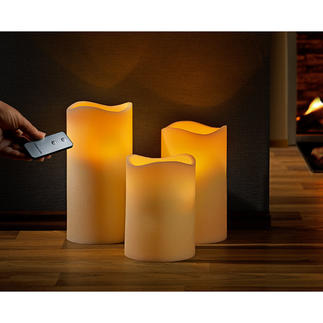 Real Wax LED Candles, Set of 3 with Remote Control Decorative 3-piece arrangement with realistic flickering flame.