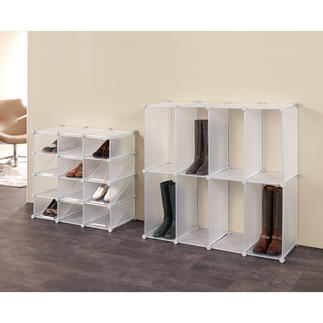 Shoe or Boot Organizer Variable cubes shelves which plug together.