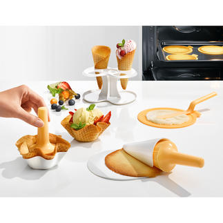 Ice Cream Cone Bake and Mould Set, 10-Piece Homemade ice cream cones and bowls. Without the need for a waffle iron.