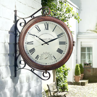 Garden/Terrace Clock Dial and thermometer on both sides.
