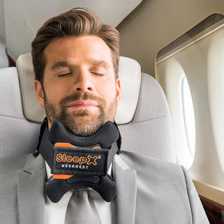 SleepX® Travel Headrest Doesn't pinch. Effectively supports the cervical spine and neck.