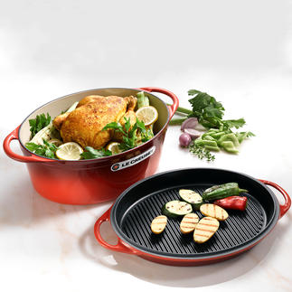 Le Creuset Cast Iron Casserole/Griddle Pan Premium quality by Le Creuset, France.