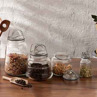 Storage Jars Scala, Holmegaard Iconic design. Patented closure. From the purveyor to the Danish royal family.