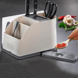 Kitchen Tool Organiser Knife block and clever utensil caddy in one. Exclusive to Pro-Idee.