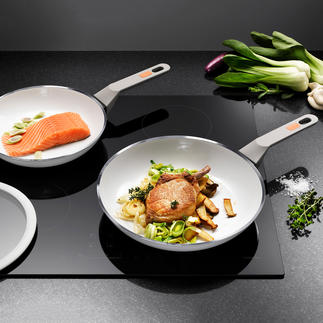 White Induction Pan or Large Pan Premium ceramic pan. Scratch resistant. Heat resistant up to 400°C.