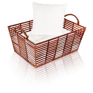 Leather Basket Stylish, hand-crafted leather baskets – perfect for stowing, storing, transporting.