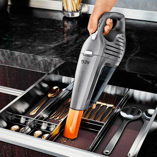 AEG battery powered hand vacuum cleaner HX6 The better vacuum cleaner: runs up to 35 minutes (!).