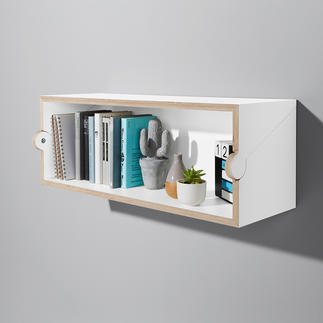 Twofold Shelf/Secretaire Clean, space-saving and multifunctional thanks to ingenious turning mechanism.