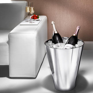 Champagne Cooler Magnum size cooler made of double-walled stainless steel.