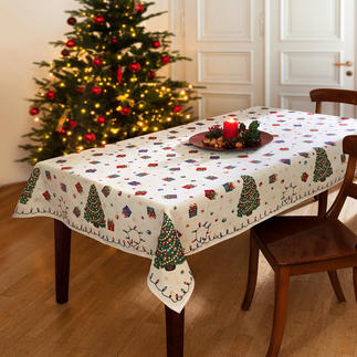 Nostalgic Christmas Table Linen With childhood whimsy. Colourful but not too garish.