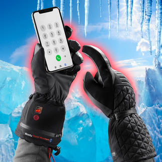 Heatable Winter Gloves Winter gloves 4.0: Warm. Waterproof. Touchscreen compatible. And heated by battery.