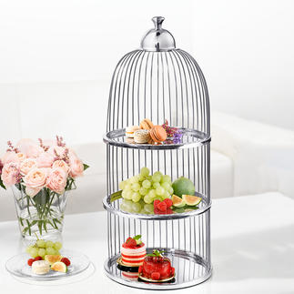 Birdcage Serving Dish Delicacies elegantly served in the three tier birdcage.