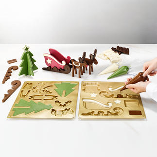 Chocolate Mould Reindeer Sleigh Heavenly Advent decoration made from chocolate. By professional supplier Silikomart®.