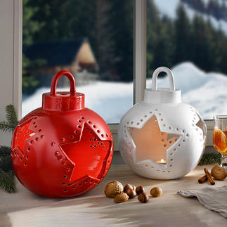 Christmas Bauble Ceramic Lantern Atmospheric eyecatcher for any interior. Exclusive to Pro-Idee.