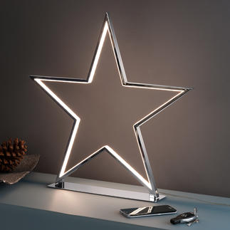 Shining Star Cool, kitsch-free decorative piece: A chromed star with LED light contours.