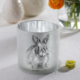"""Double Motif Lantern """"Rabbit"""" The secret behind the lantern is the glass: Mirrored on the inside, frosted on the outside."""