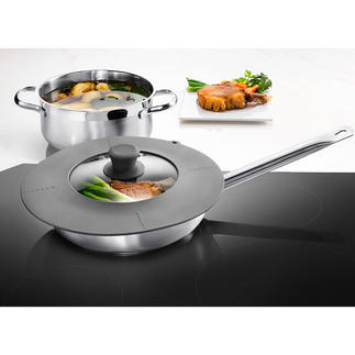 7-in-1 Universal Lid Fits all pots and pans from 16 to 28cm (6″ to 11″) in diameter.
