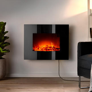Electrical Wall Fireplace Cosy warmth and the fascination of a strong fire without open flames.